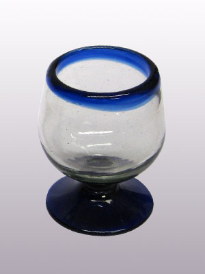 MEXICAN GLASSWARE / 'Cobalt Blue Rim' small cognac glasses (set of 6)